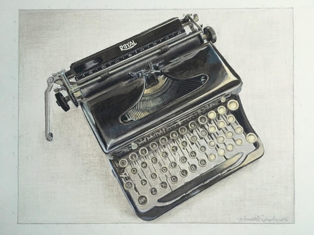 Mom's Typewriter | Colored Pencil on Bristol