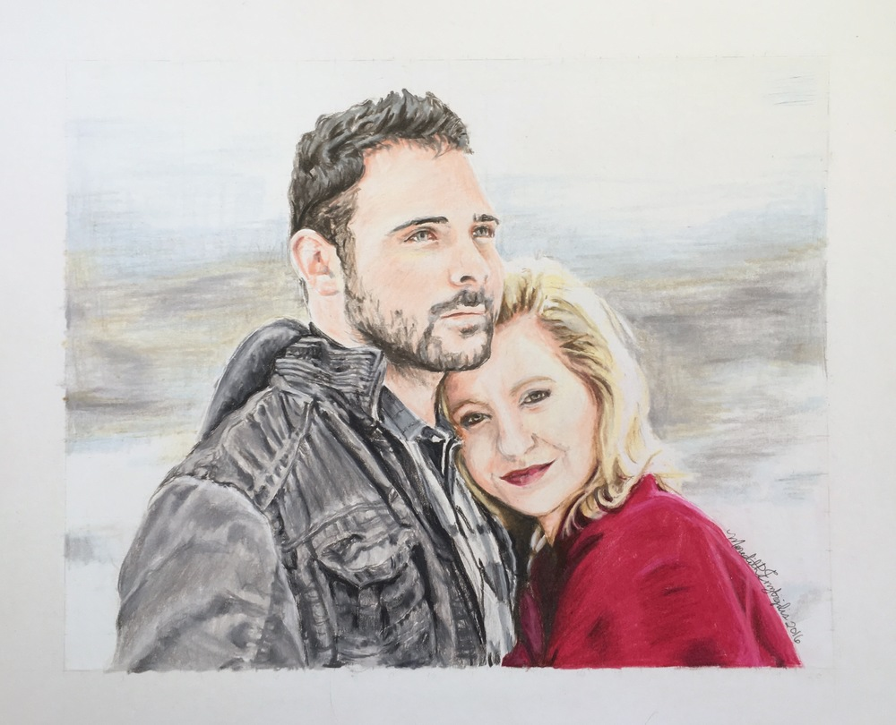 Engagement Portait | Colored Pencil on Bristol