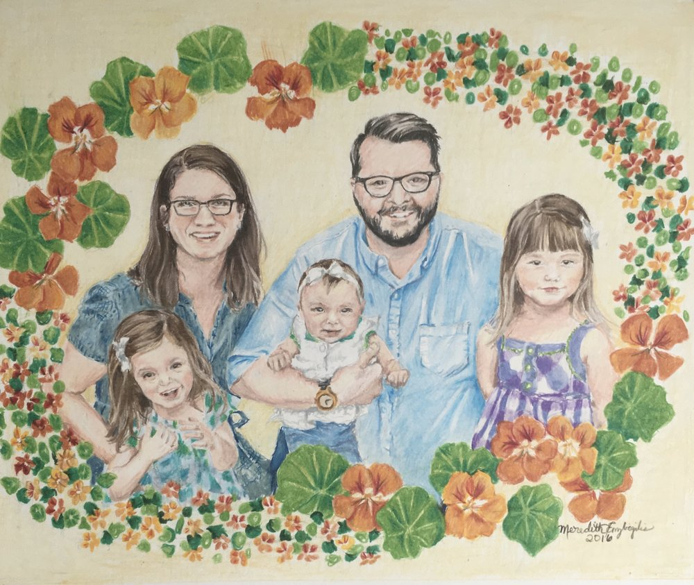 Henry Family Portrait | Colored Pencil on Bristol