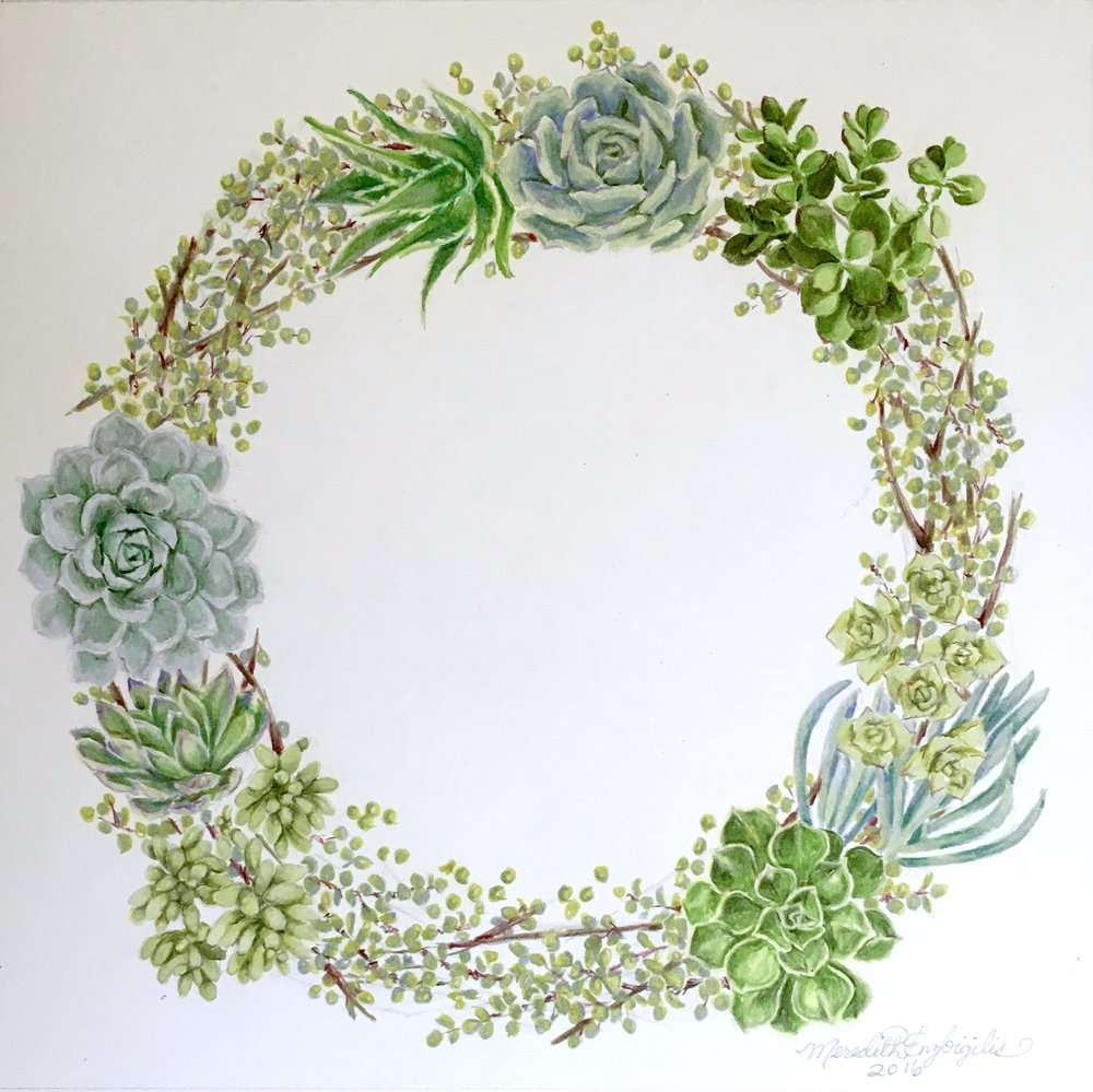 Succulent Wreath | Colored Pencil on Bristol