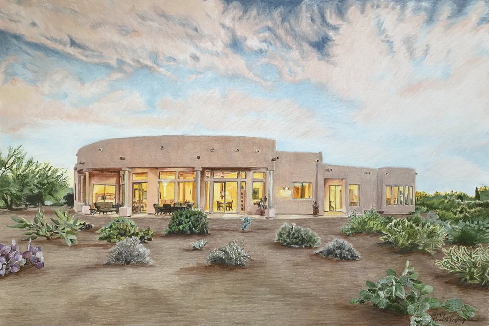 Gold Canyon House | Colored Pencil on Bristol