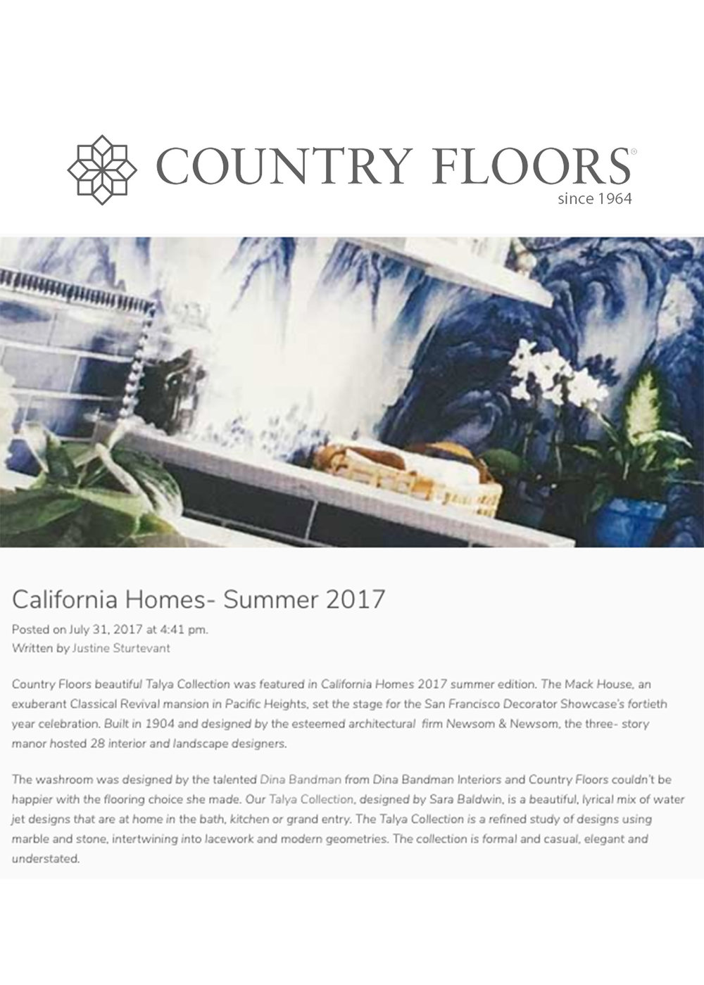 COUNTRY FLOORS- SUMMER 2017