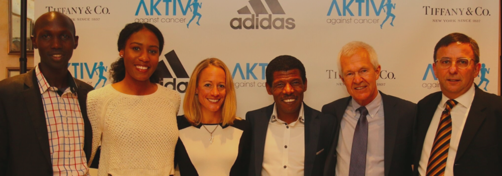 adidas athletes: Wilson Kipsang, ajee' wilson, Jen Rhines, Haile Gebrselassie with AKTIV against Cancer Board Members, Jack waitz and Adrian Leek