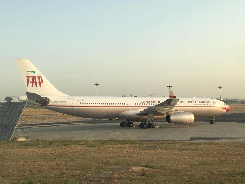 """O """"novo"""" A330 da TAP Portugal com pintura retro. Foto: Diogo Parra (c)"""