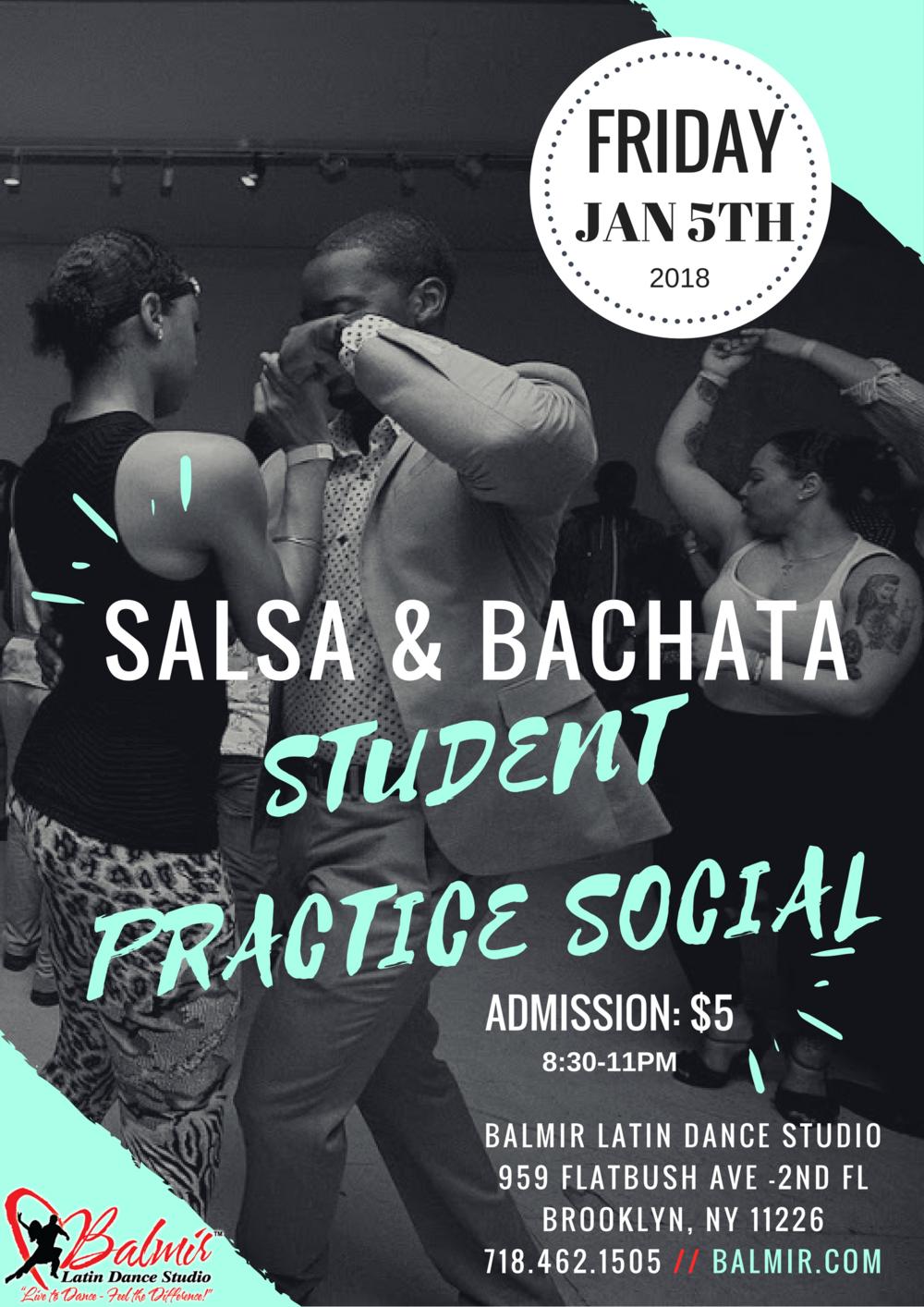 salsa bachata student practice social at balmir latin dance studio