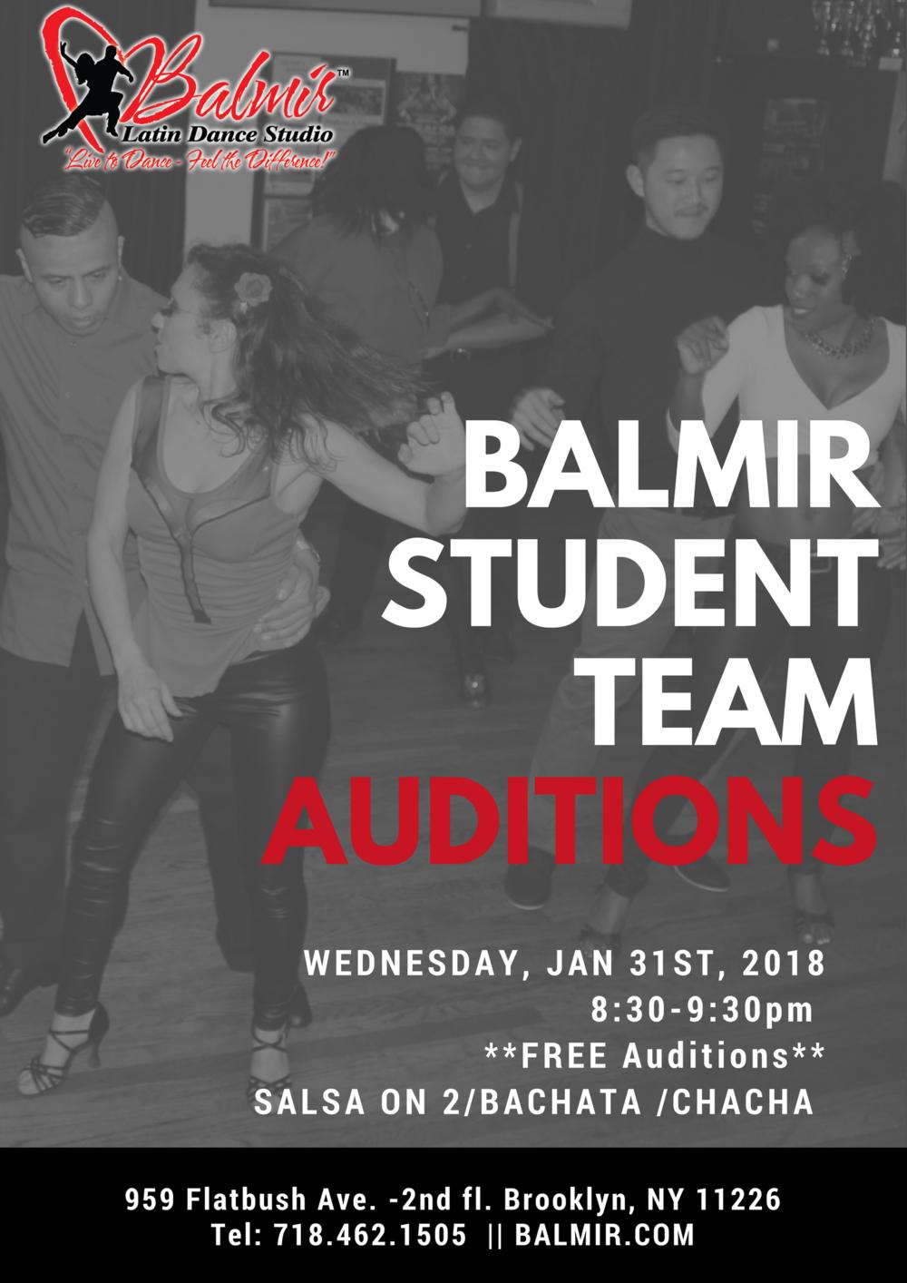 balmir student team auditions January 2018