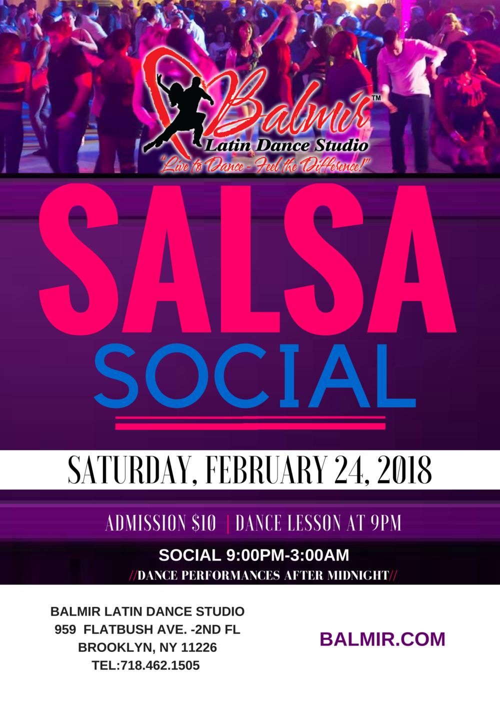 SALSA Dance Party Social Saturday February 21 2018 Balmir Latin Dance Studio Brooklyn