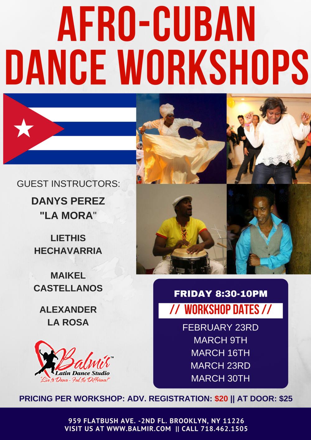 afro-Cuban dance workshops Balmir Latin Dance Studio