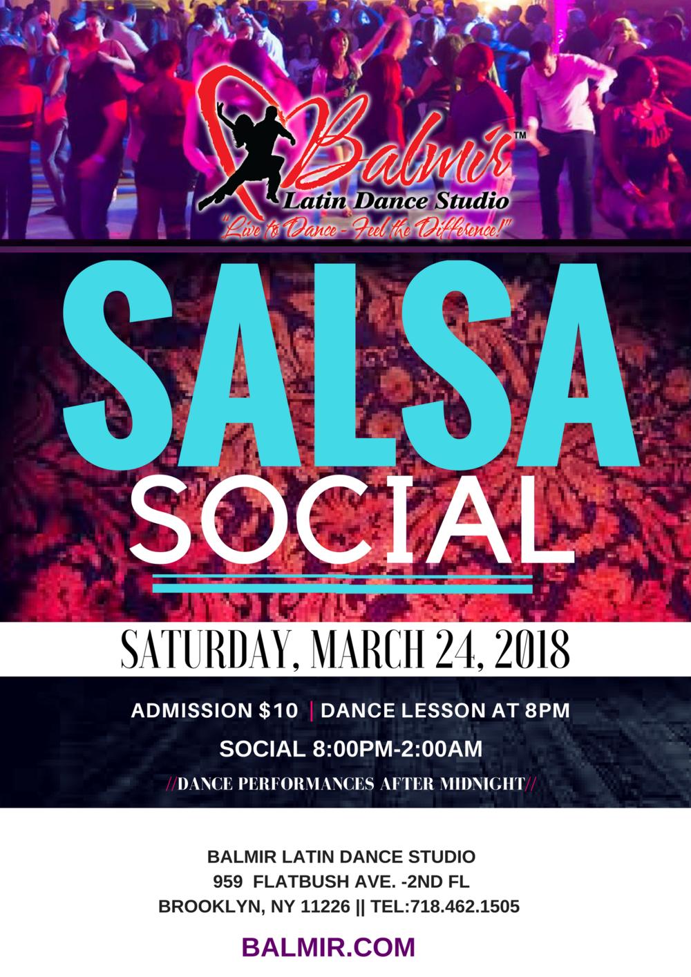 Salsa Social Dance Party at Balmir Latin Dance Studio in Brooklyn NY Saturday March 24, 2018