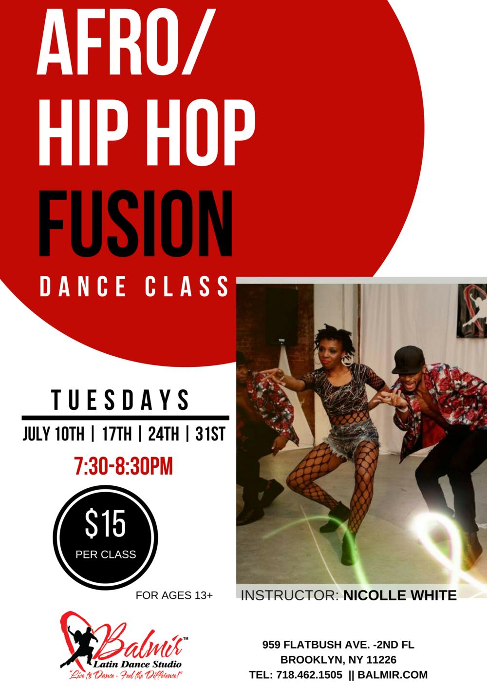 afro hiphop fusion dance class balmir latin dance studio july 2018
