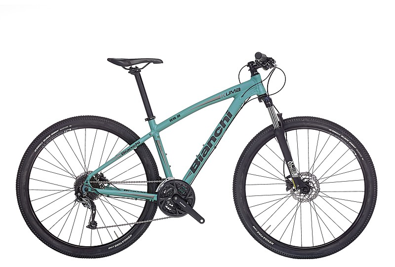 "Bianchi Kuma 29.2   The Kuma 29.2 is a cross country ready mountain bike with its 29"" wheels, 3x9 speed Shimano drivetrain, HLO hydraulic fork lockout and powerful hydraulic disc brakes that deliver exceptional braking power."