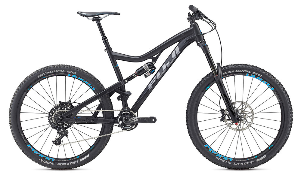Fuji Auric 27.5   The Auric's big travel equals big descents and the Auric lets you shred the downhill. Thanks to the 160mm of MLink suspension you won't be dragging on the climbs either. Up or down the Auric is the bike for your big days on the mountain. Available in 3 models.