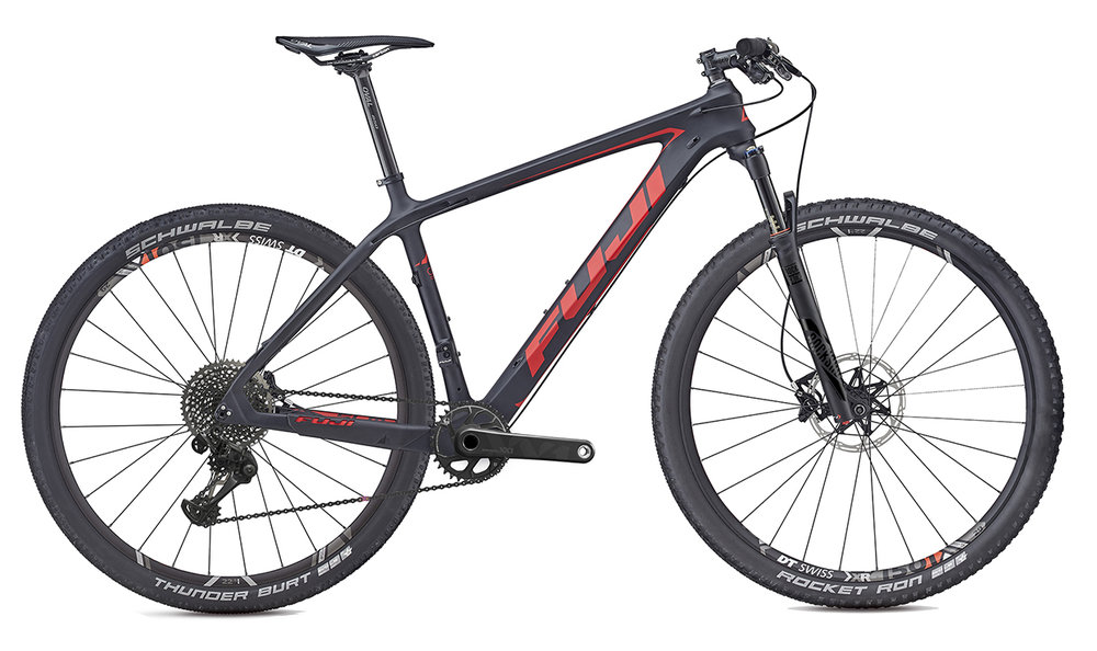 Fuji SLM   Superlight, stiff and smooth on the trail, the SLM is at the pinnacle of hardtail XC mountain bikes. With a long, low and aggressive geometry the SLM is ready to play at World Cup tracks or your local XC series. Available in 4 models.