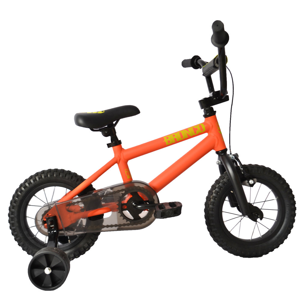 "SE Bronco 12""   This is the smallest SE bike ever! The 6061 aluminum Bronco 12 comes equipped with training wheels & a coaster brake for the enthusiastic little kid just learning to ride. You're never too young to have fun a bike."