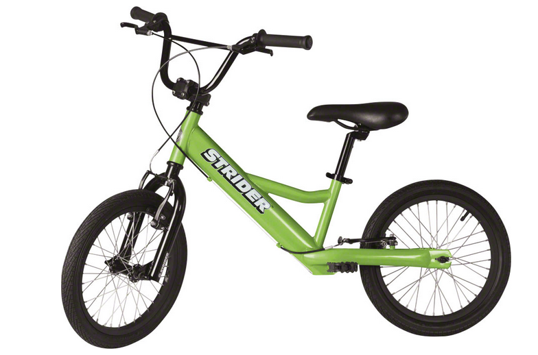 Strider 16 Sport   Lightweight, pedal-less design allows children ages 6+ to straddle the bike with both feet on the ground and easily propel the bike by walking or running. Includes front and rear V-brakes.