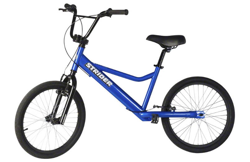 Strider 20 Sport   Lightweight, pedal-less design allows children ages 10+ to straddle the bike with both feet on the ground and easily propel the bike by walking or running. Includes front and rear V-brakes.