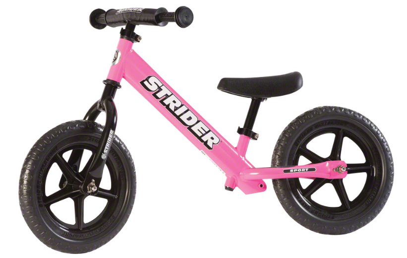 Strider 12 Sport   Lightweight, pedal-less design allows children to straddle the bike with both feet on the ground and easily propel the bike by walking or running. Choose from 7 color options!