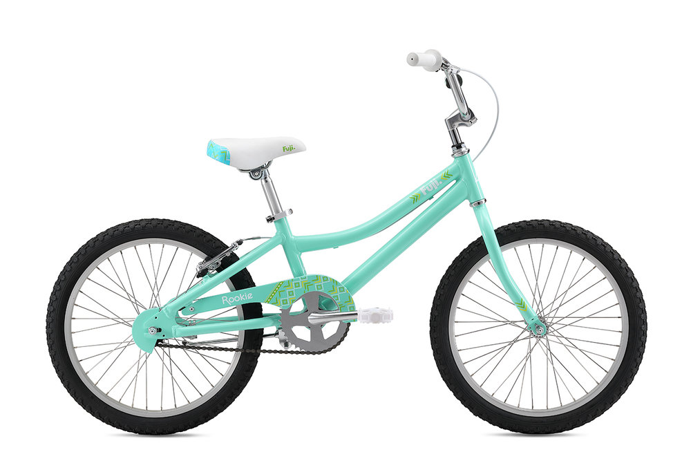 "Fuji Rookie 20"" Girls   The all-new lightweight and durable aluminum frame, easy-to-use coaster brake with additional v-brake option to help little ones adjust to hand braking and aluminum wheels with stainless steel spokes that are durable and don't rust over time make for the perfect kids bike."