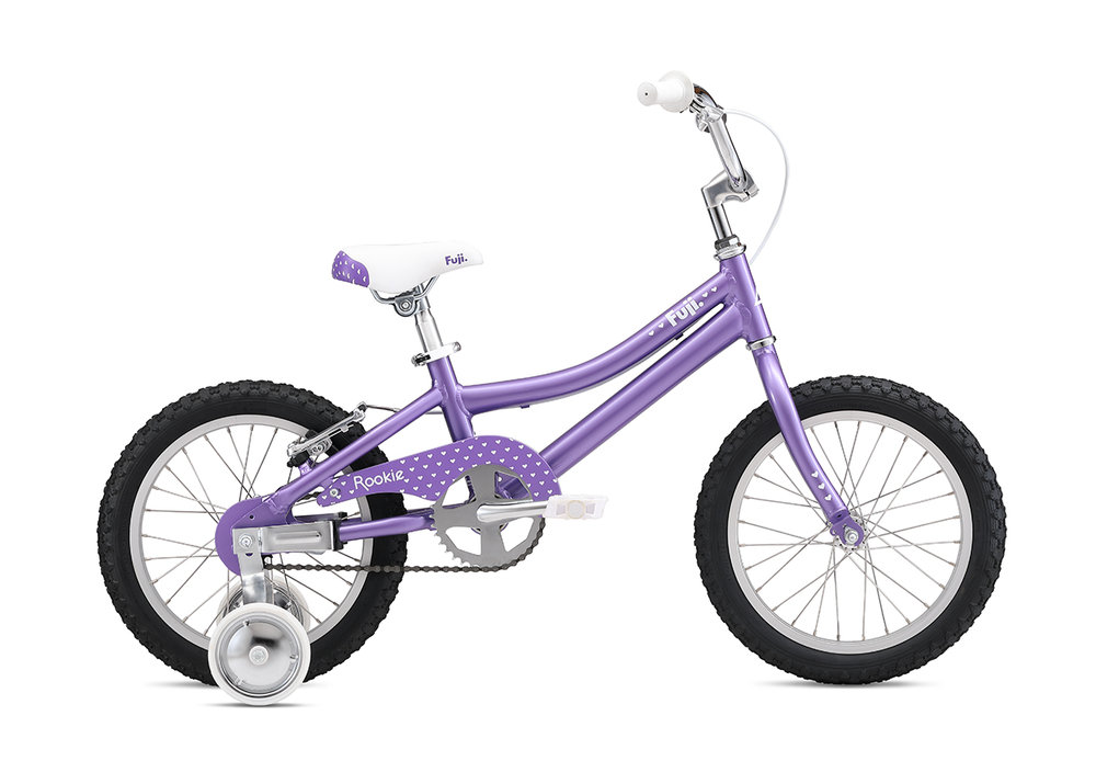 "Fuji Rookie 16"" Girls   The all-new lightweight and durable aluminum frame, easy-to-use coaster brake with additional v-brake option to help little ones adjust to hand braking and aluminum wheels with stainless steel spokes that are durable and don't rust over time make for the perfect first bike."