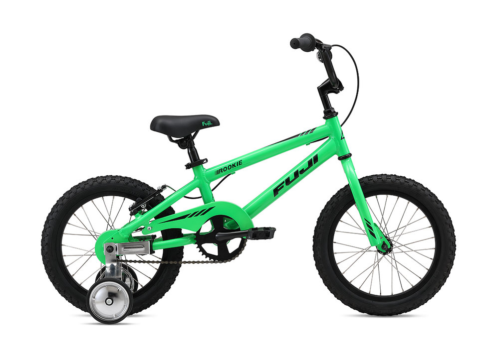 "Fuji Rookie 16"" Boys   The all-new lightweight and durable aluminum frame, easy-to-use coaster brake with additional v-brake option to help little ones adjust to hand braking and aluminum wheels with stainless steel spokes that are durable and don't rust over time make for the perfect first bike."