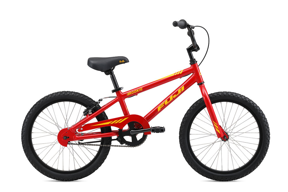 "Fuji Rookie 20"" Boys   The all-new lightweight and durable aluminum frame, easy-to-use coaster brake with additional v-brake option to help little ones adjust to hand braking and aluminum wheels with stainless steel spokes that are durable and don't rust over time make for the perfect kids bike."