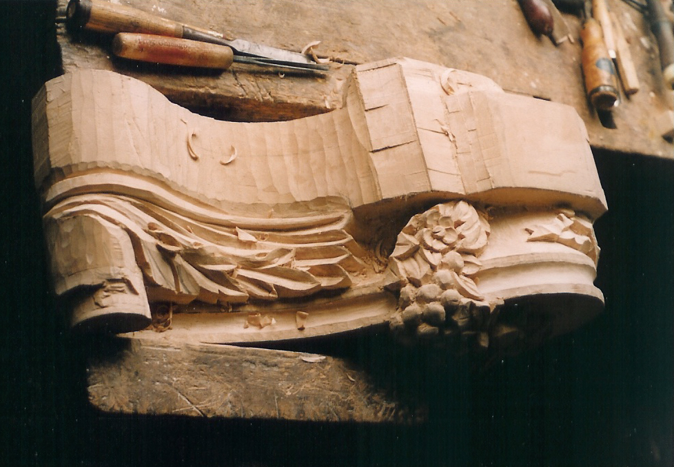 Mantle bracket during carving