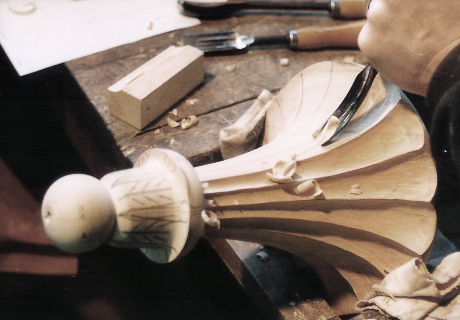 Wooden bracket during carving