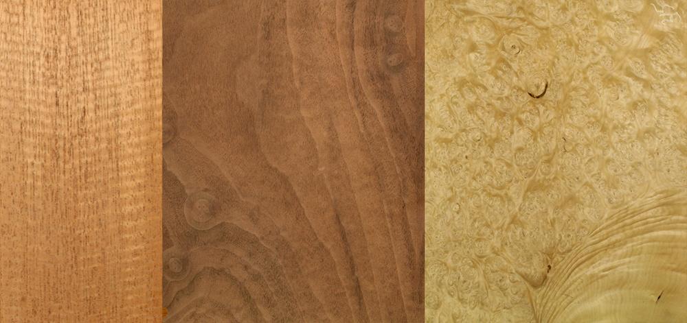 Examples of veneers used by BF Workshops, Inc.