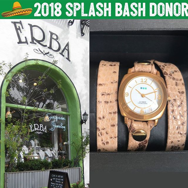For jewelry and gifts that have that certain je ne sais quoi, Erba is your shop! 👑 We could spend hours trying on all their gorgeous European jewelry! 🤩 Such a gorgeous shop and we're so lucky to have this beautiful La Mer Collections watch donated to our Splash Bash! 💗 Thank you so much for your contribution! We say oui, oui to this one! @erbaondelmar @erbasanclemente