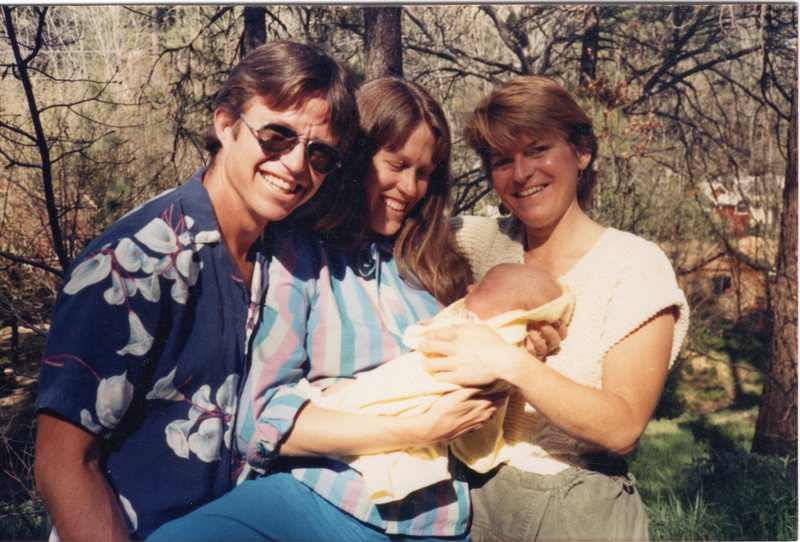 Eric and Lisa McCready with Gretchen Charlton and newborn baby