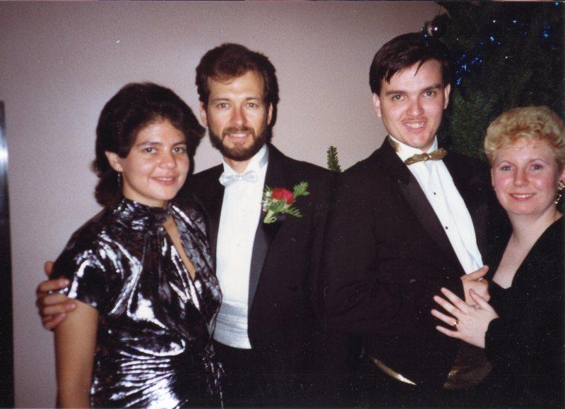 Theresa and Craig Congdon, Ray and Tina Herrera - 1989 AIS Christmas party
