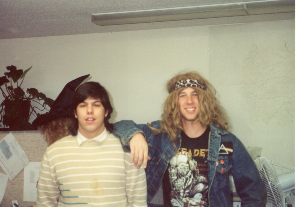 Jimmy and a hippie-freak, AIS Halloween, 1986