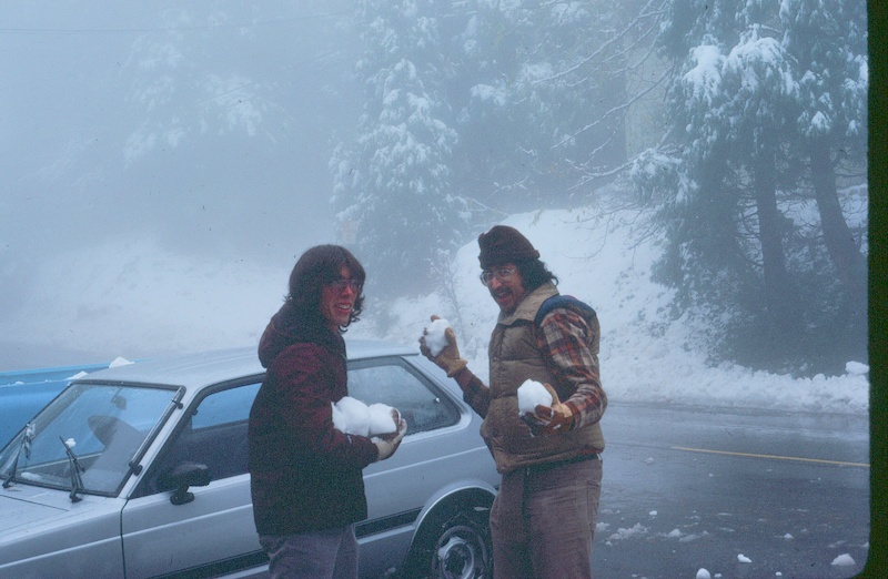 Ken (with Ed Reyes) with snow in Crestline, circa 1982