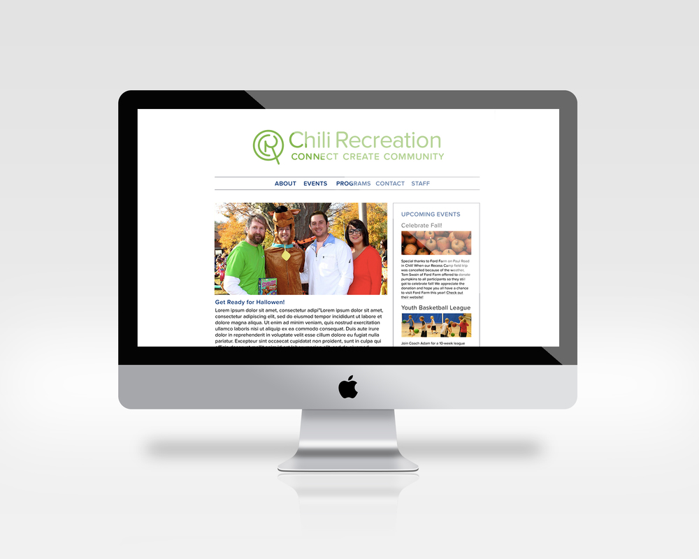 The majority of Chili Recreation's internet presents is through Facebook. To book a class, one would have to go through the township's website, which is not intuitive and difficult to navigate. Using a Wordpress template, I designed a layout that would be easy for them to use and update with events, but also easy to sign up for all of the classes that Chili Recreation offers.