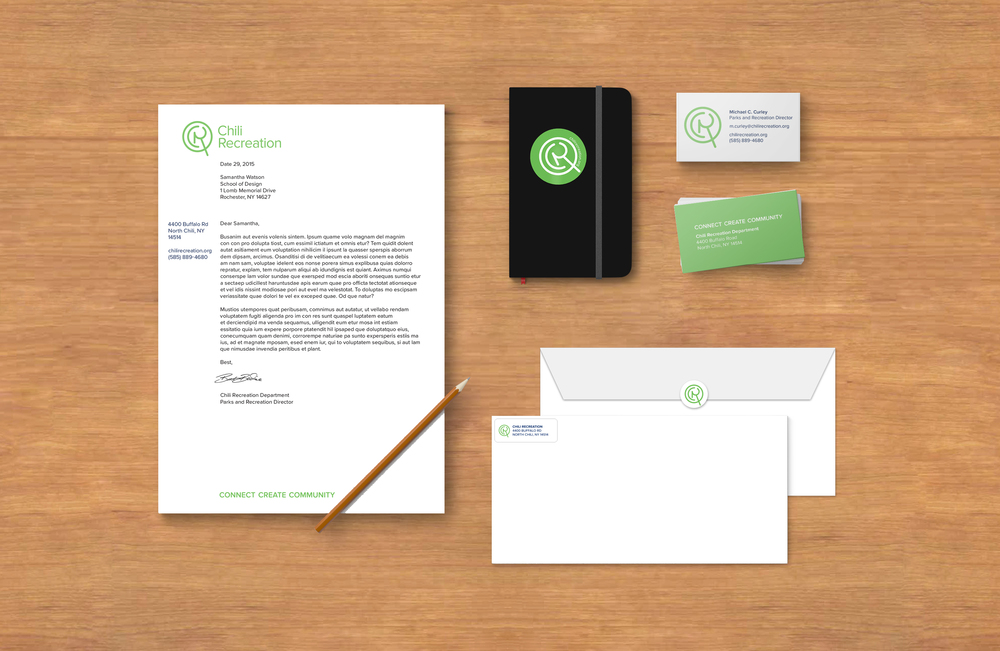 The letterhead and business cards are lighthearted and fun to represent the spirit of the company, but still professional. Each employee at the Chili Recreation Department should have their own business card. The front contains personal information, while the back of the card remains the same for each employee.  Stickers, like the one on the notebook, are easy to print and could be given out at events.  Stickers, like the ones on the envelopes, are much more cost-effective than personalized envelopes—this is important for a small town-funded organization like Chili Recreation. They can easily be printed in-house, and can be added to make flyers, bills, or information pamphlets more professional.