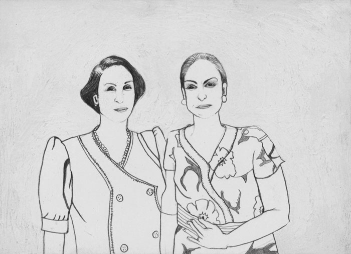 9.Pia & Maria & Jose 2003. Graphite and Acrylic on paper. 6%22x 4%22 .jpg
