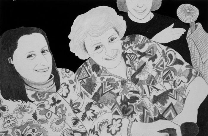 18. Yifat & Rosaline 2003. Graphite on paper. 10%22 x7%22 jpg.jpg