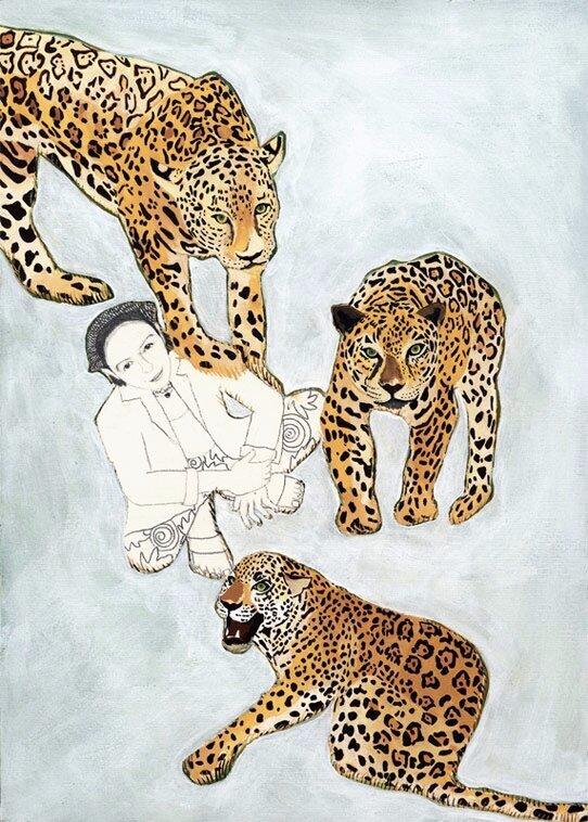 28.Ana & Jaguars 2002. Goauche & graphite on paper. 12 x 9%22.jpg
