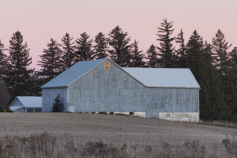 Barn and sunset photograph Waterloo Region Landscape Photography Susan Arness