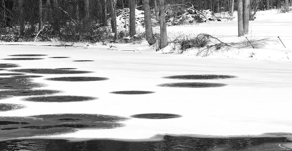 Jedburgh Pond, Ayr - Circles of melting ice-Black and White photography