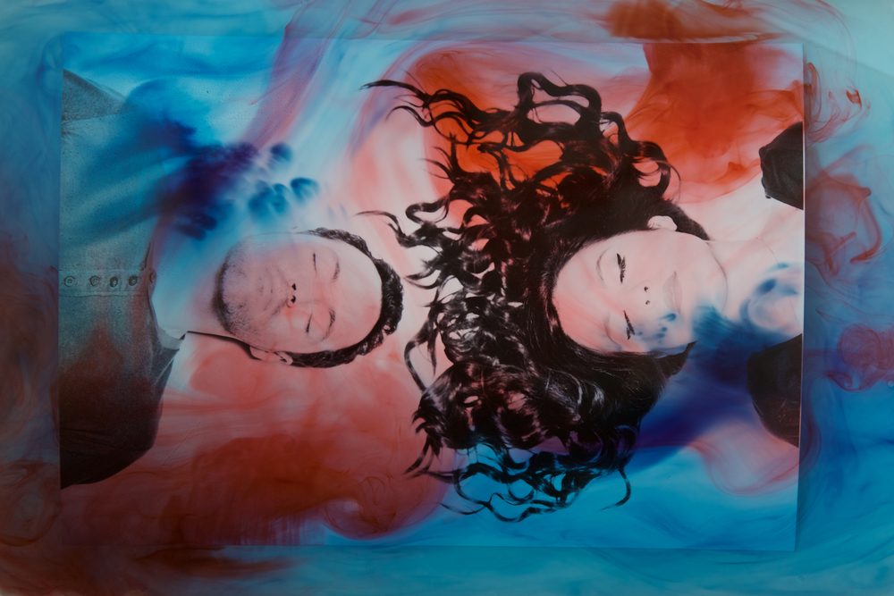 Paper Trails Portrait -  While we played around and got quite a few different looks, this was the one that I was really excited about. I really wanted it too look like Meesha and David were underwater without having to actually put them underwater. Wifey helped me with the food coloring and we shot a ton of these before we found the right blend of coloring.
