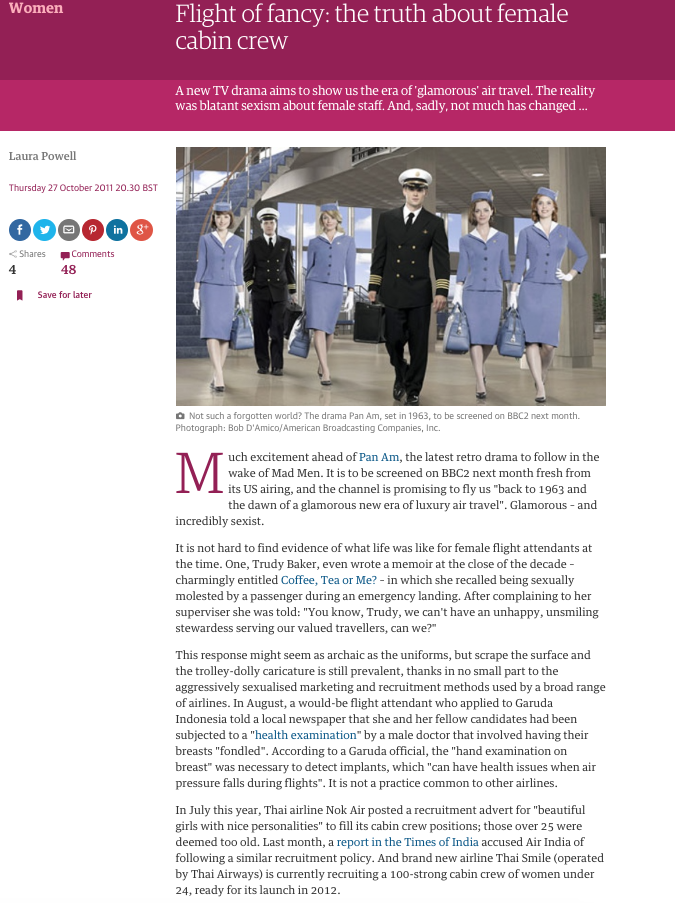Flight of fancy  Sexism in the airline industry  The Guardian