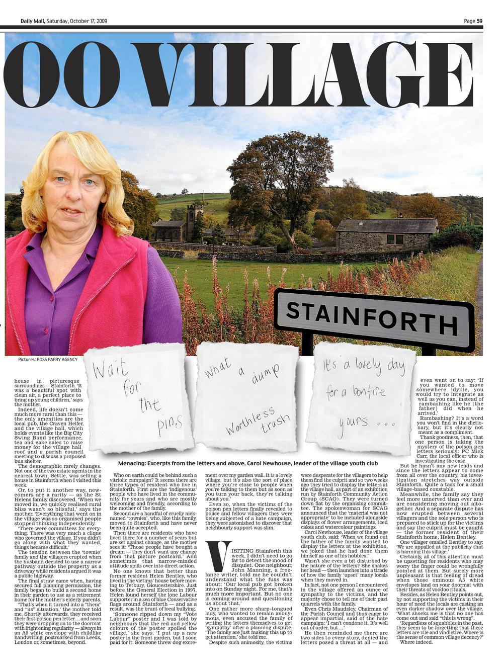 Voodoo village  Poison pen letters and a village at war  Daily Mail