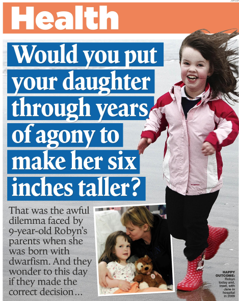 Dwarfism polemic  One mother's divisive decision  Mail on Sunday