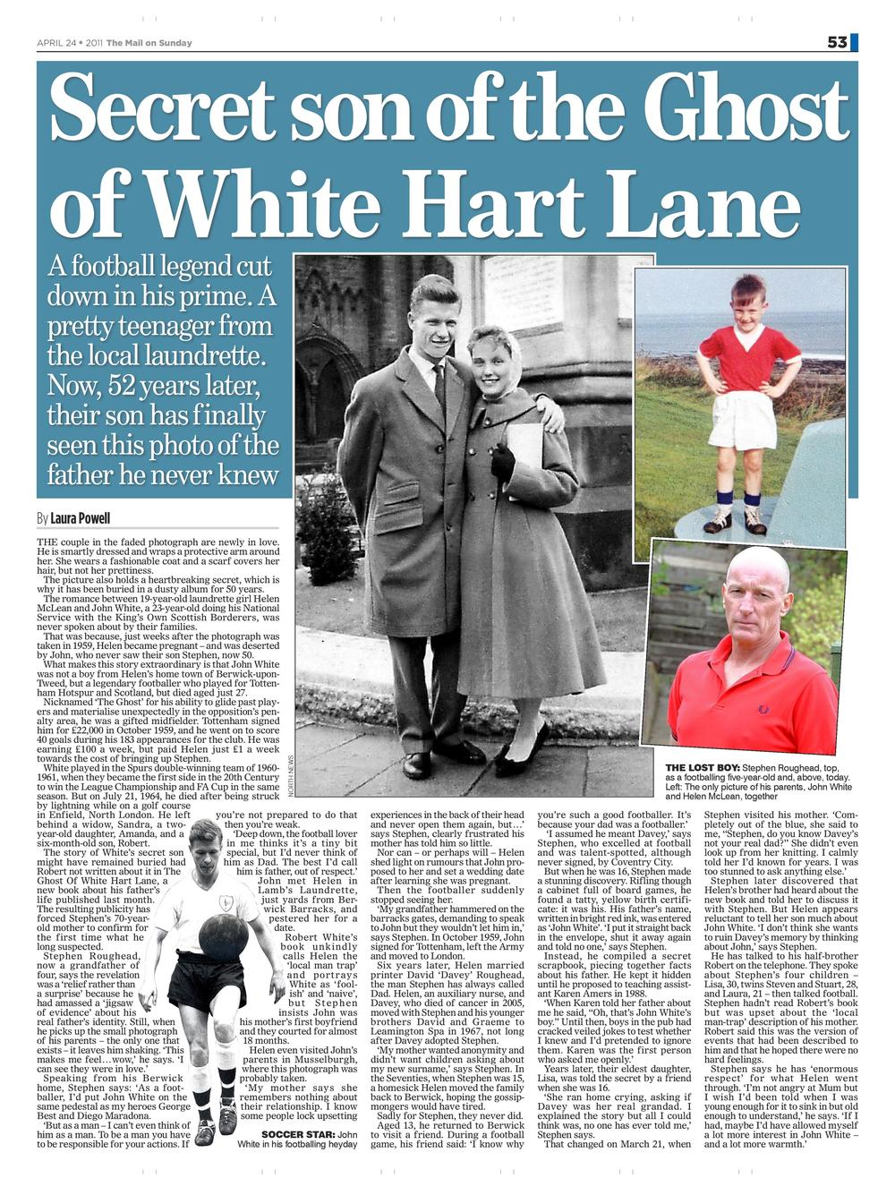 Football's secret son  Ghost of White Hart Lane  Mail on Sunday