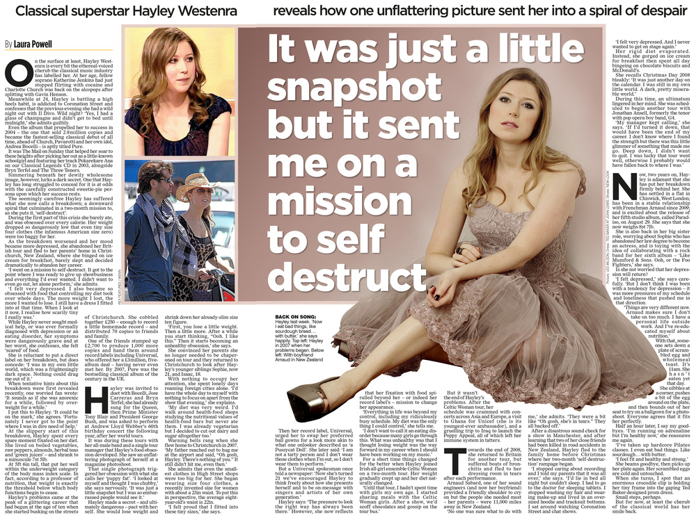 Hayley Westenra  On her public breakdown  Mail on Sunday
