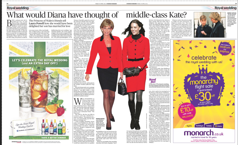 "Princess Diana's…  ...friends on ""middle-class Kate""  Evening Standard"