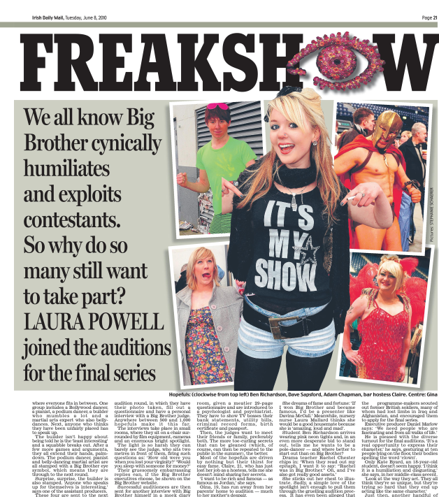 The final freakshow: Big Brother audition   Daily Mail