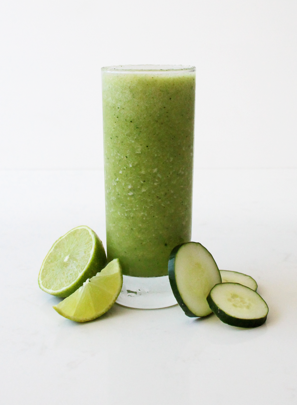Refresher Clear your mind and quench your thirst with this refreshing smoothie. This is the perfect after workout refresher with its cucumber and pineapple base, combined with banana and lime, and a hint of ginger for that extra kick. --- cucumber, pineapple, banana, cold-pressed pineapple juice, cold-pressed ginger juice, lime juice