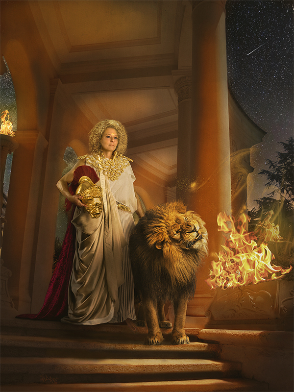 Returning from Battle: Amazon queen Nemeia and her battle lion